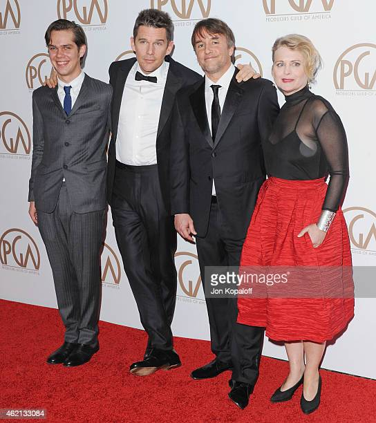 Actors Ellar Coltrane and Ethan Hawke director Richard Linklater and producer Cathleen Sutherland arrive at the 26th Annual PGA Awards at the Hyatt...