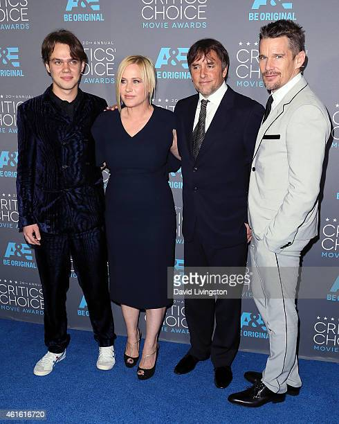 Actors Ellar Coltrane and Patricia Arquette director Richard Linklater and actor Ethan Hawke attend the 20th Annual Critics' Choice Movie Awards at...