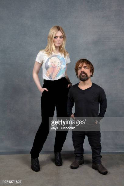 "Actors Elle Fanning and Peter Dinklage from ""I Think We're Alone Now"" are photographed for Los Angeles Times on January 20, 2018 in the L.A. Times..."