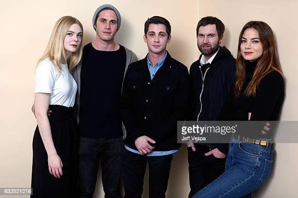 Actors Elle Fanning Blake Jenner Logan Lerman filmmaker Shawn Christensen and actress Michelle Monaghan from the film 'Sidney Hall' pose for a...