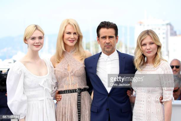 """Actors Elle Fanning, Nicole Kidman, Colin Farrell and Kirsten Dunst attend """"The Beguiled"""" photocall during the 70th annual Cannes Film Festival at..."""