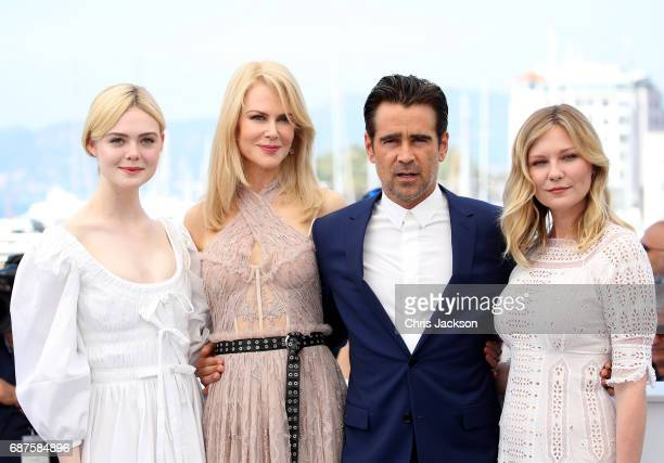 Actors Elle Fanning Nicole Kidman Colin Farrell and Kirsten Dunst attend 'The Beguiled' photocall during the 70th annual Cannes Film Festival at...