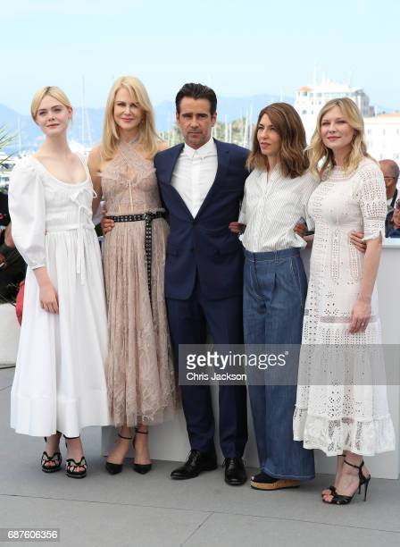 """Actors Elle Fanning, Nicole Kidman, Colin Farrell, director Sofia Coppola and actress Kirsten Dunst attend """"The Beguiled"""" photocall during the 70th..."""