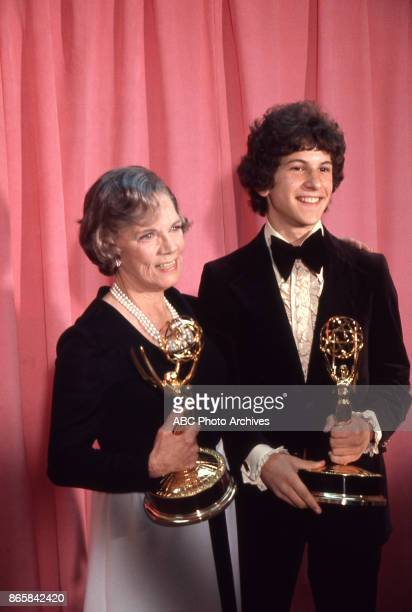 Actors Ellen Corby and Scott Jacoby hold their Emmy Awards in the press room at The 25th Primetime Emmy Awards on May 20 1973 at Shubert Theatre Los...