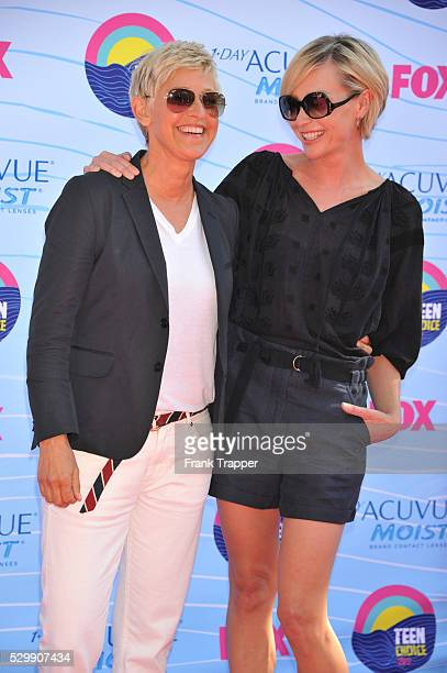 Actors Ellen DeGeneres and Portia de Rossi arrive at the 2012 Teen Choice Awards held at the Gibson Amphitheatre in Universal City California