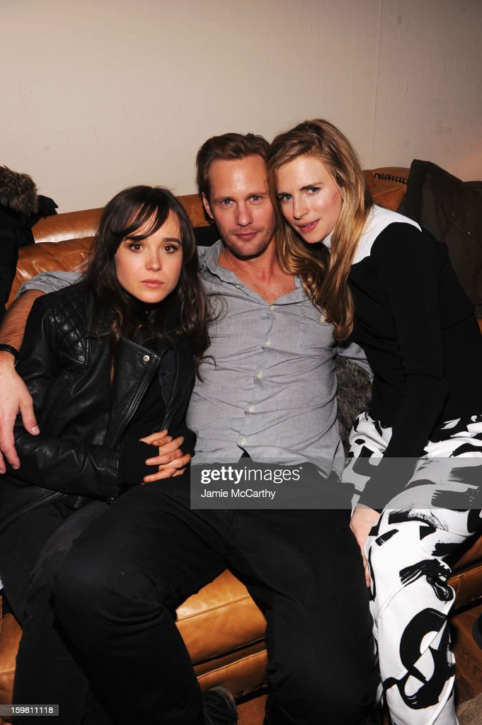 Actors Ellen Page, Alexander Skarsgard and Brit Marling attend Grey Goose Blue Door part for Fox Searchlight Pictures 'Stoker' and 'The East' on January 20, 2013 in Park City, Utah.