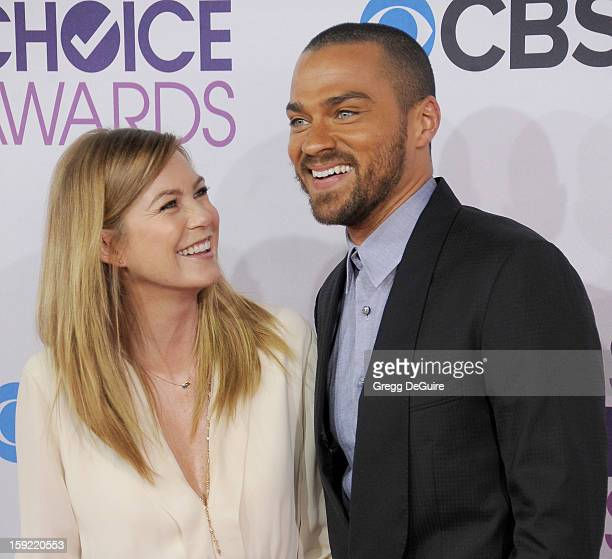 Actors Ellen Pompeo and Jesse Williams arrive at the 2013 People's Choice Awards at Nokia Theatre LA Live on January 9 2013 in Los Angeles California