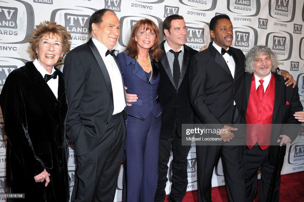 Actors Ellen Travolta, Gabe Kaplan, Marcia Strassman, John Travolta, Lawrence Hilton-Jacobs and Robert Hegyes attend the 9th Annual TV Land Awards at the Javits Center on April 10, 2011 in New York City.