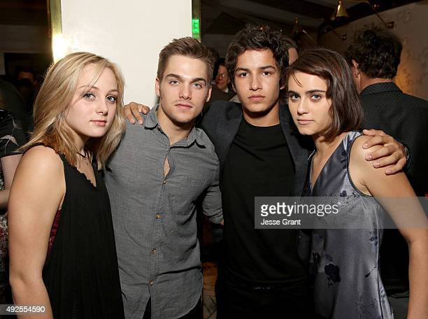 Actors Ellery Sprayberry Dylan Sprayberry Aramis Knight and Ally Ioannides attend AMC's 'Into The Badlands' Premiere on October 13 2015 in West...