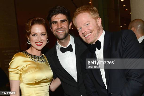 Actors Ellie Kemper Justin Mikita and Jesse Tyler Ferguson attends the Fox And FX's 2014 Golden Globe Awards Party on January 12 2014 in Beverly...