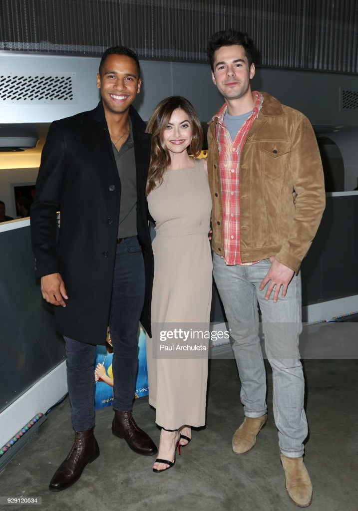 Actors Elliot Knight; Brooke Lyons and Jayson Blair attend the screening for the CW's 'Life Sentence' at The Downtown Independent on March 7, 2018 in Los Angeles, California.