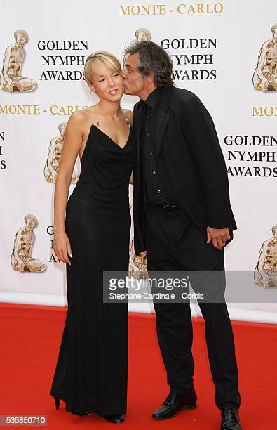 Actors Elodie Fontan and Jean Michel Tinivelli arrive at the closing ceremony of the 47th annual Monte Carlo Television Festival held at Grimaldi...