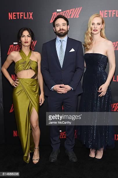 Actors Elodie Yung Charlie Cox and Deborah Ann Woll attend the Daredevil Season 2 Premiere at AMC Loews Lincoln Square 13 theater on March 10 2016 in...