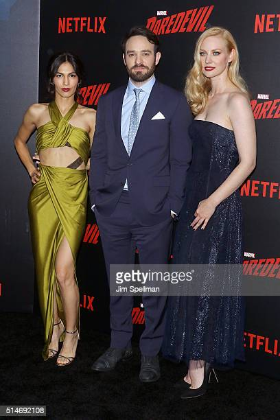 Actors Elodie Yung Charlie Cox and Deborah Ann Woll attend the 'Daredevil' season 2 premiere at AMC Loews Lincoln Square 13 theater on March 10 2016...