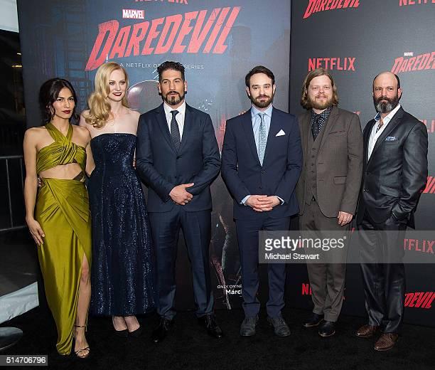 "Actors Elodie Yung, Deborah Ann Woll, Jon Bernthal, Charlie Cox, Elden Henson and Geoffrey Cantor attend the ""Daredevil"" Season 2 premiere at AMC..."