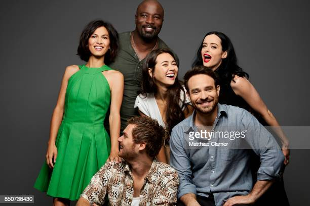 Actors Elodie Yung Mike Colter Jessica Henwick Krysten Ritter Finn Jones and Charlie Cox from Marvel's The Defenders are photographed for...