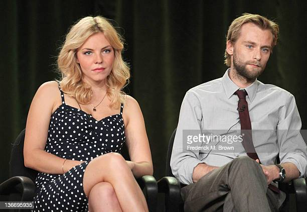Actors Eloise Mumford and Joe Anderson speak during 'The River' panel during the ABC portion of the 2012 Winter TCA Tour held at The Langham...