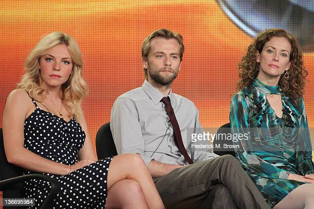 Actors Eloise Mumford Joe Anderson and Leslie Hope speak during 'The River' panel during the ABC portion of the 2012 Winter TCA Tour held at The...