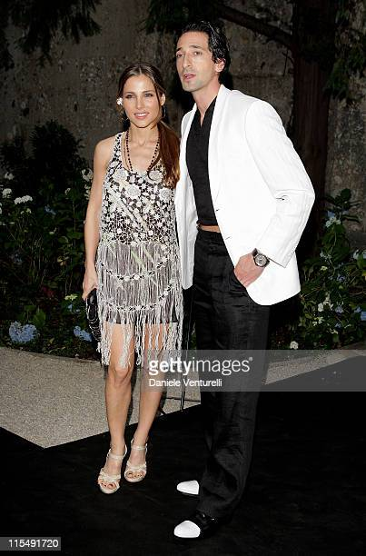 Actors Elsa Pataky and Adrien Brody attend Giorgio Armani Cocktail Party at Villa Necchi as part of Milan Fashion Week Menswear Spring/Summer 2009 on...