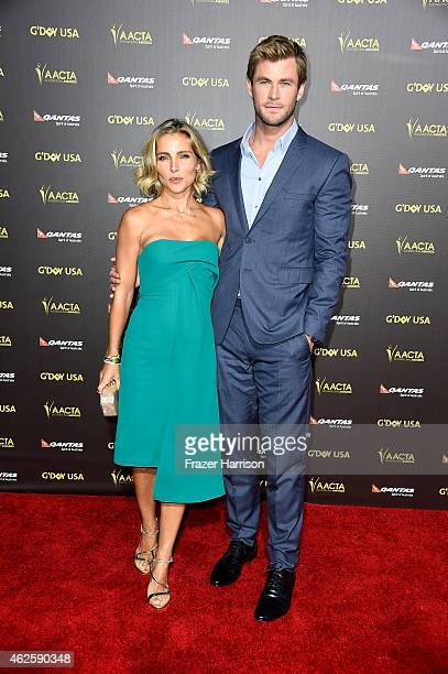 Actors Elsa Pataky and Chris Hemsworth arrive at the 2015 G'Day USA Gala Featuring The AACTA International Awards Presented By QANTAS at the...