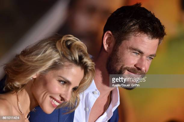 Actors Elsa Pataky and Chris Hemsworth arrive at the premiere of Disney and Marvel's 'Thor Ragnarok' at the El Capitan Theatre on October 10 2017 in...