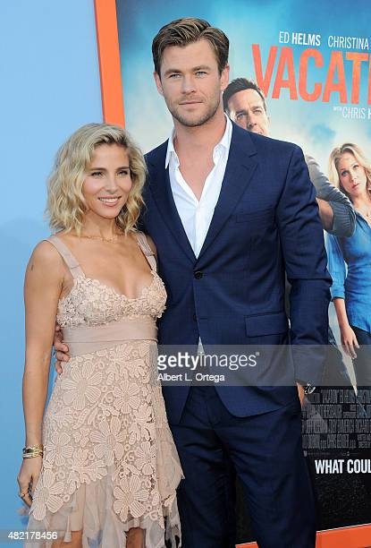 """Actors Elsa Pataky and Chris Hemsworth arrive for the Premiere Of Warner Bros. Pictures' """"Vacation"""" held at Regency Village Theatre on July 27, 2015..."""