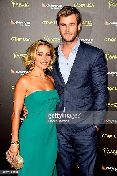 Actors Elsa Pataky and Chris Hemsworth arrives at the 2015 G'Day USA Gala Featuring The AACTA International Awards Presented By QANTAS at the...