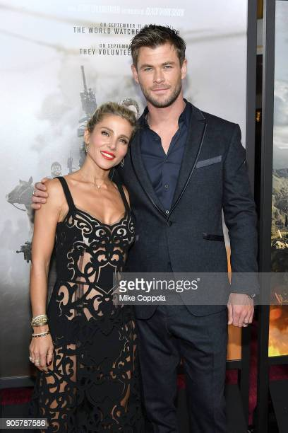 Actors Elsa Pataky and Chris Hemsworth attend the '12 Strong' World Premiere at Jazz at Lincoln Center on January 16 2018 in New York City