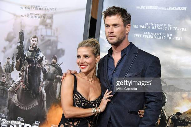 Actors Elsa Pataky and Chris Hemsworth attend the 12 Strong World Premiere at Jazz at Lincoln Center on January 16 2018 in New York City