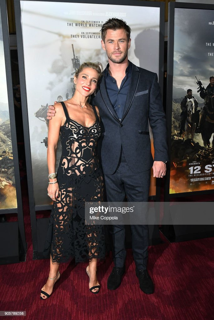 Actors Elsa Pataky (L) and Chris Hemsworth attend the '12 Strong' World Premiere at Jazz at Lincoln Center on January 16, 2018 in New York City.