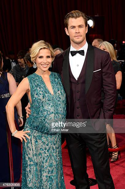 Actors Elsa Pataky and Chris Hemsworth attend the Oscars held at Hollywood Highland Center on March 2 2014 in Hollywood California