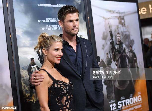 Actors Elsa Pataky and Chris Hemsworth attend the world premiere of '12 Strong' at Jazz at Lincoln Center on January 16 in New York City / AFP PHOTO...