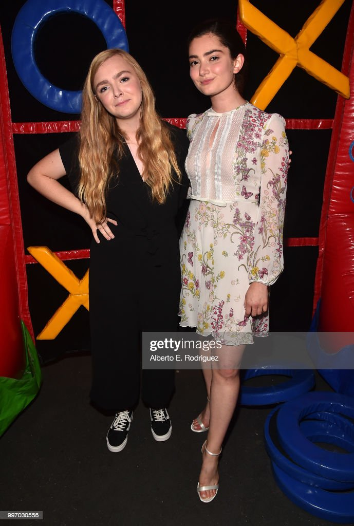 Actors Elsie Fisher and Emily Robinson attend the after party for a screening of A24's 'Eigth Grade' at Le Conte Middle School on July 11, 2018 in Los Angeles, California.