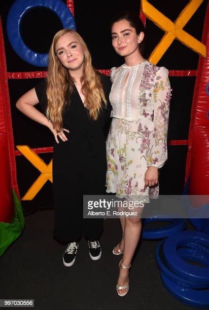 Actors Elsie Fisher and Emily Robinson attend the after party for a screening of A24's 'Eigth Grade' at Le Conte Middle School on July 11 2018 in Los...