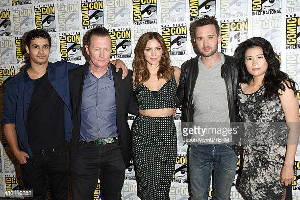 Actors Elyes Gabel Robert Patrick Katharine McPhee Eddie Kaye Thomas and Jadyn Wong attend the CBS Television Studios press room during ComicCon...