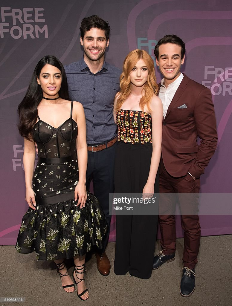 Actors Emeraude Toubia, Matthew Daddario, Katherine McNamara, and Alberto Rosende attend the 2016 Freeform Upfront at Spring Studios on April 7, 2016 in New York City.