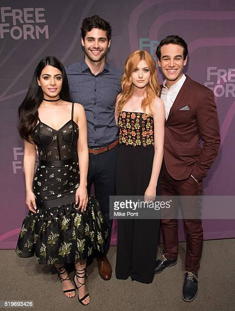 Actors Emeraude Toubia Matthew Daddario Katherine McNamara and Alberto Rosende attend the 2016 Freeform Upfront at Spring Studios on April 7 2016 in...