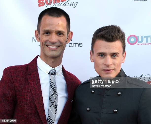 Actors Emerson Collins and Blake McIver Ewing attend the premiere of Beard Collins Shores Productions' 'A Very Sordid Wedding' at Laemmle's Ahrya...