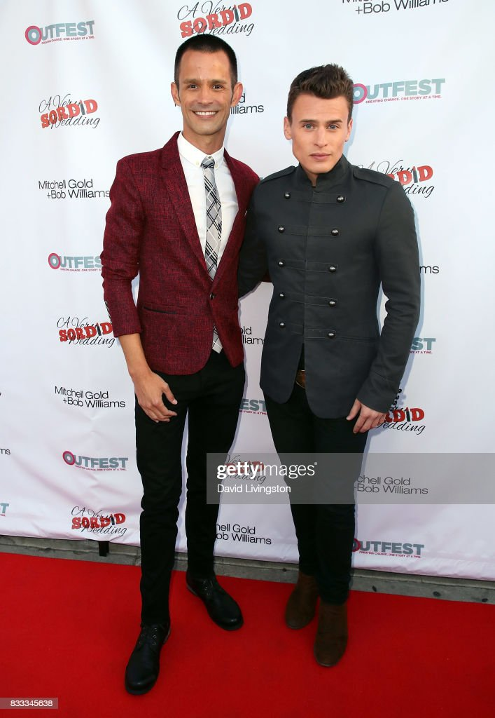 Actors Emerson Collins (L) and Blake McIver Ewing attend the premiere of Beard Collins Shores Productions' 'A Very Sordid Wedding' at Laemmle's Ahrya Fine Arts Theatre on August 16, 2017 in Beverly Hills, California.