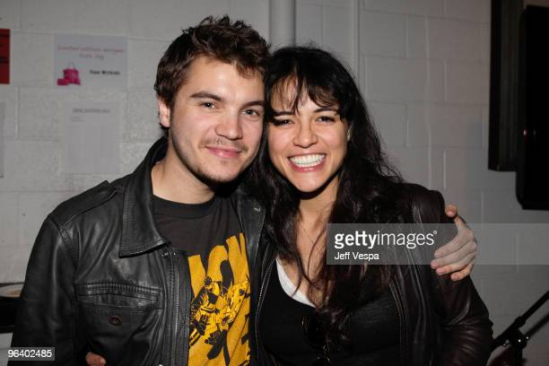 Actors Emile Hirsch and Michelle Rodriguez attend the 'Have a Heart for Haiti' event held at Palihouse Holloway on February 3 2010 in West Hollywood...