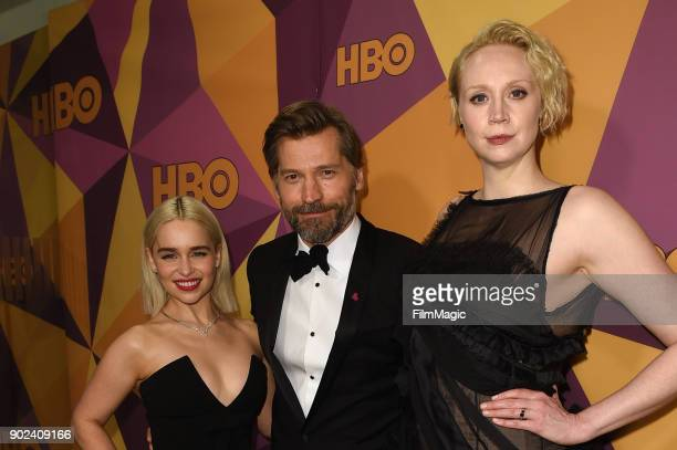 Actors Emilia Clark Gwendoline Christie and Nikolaj CosterWaldau attend HBO's Official Golden Globe Awards After Party at Circa 55 Restaurant on...