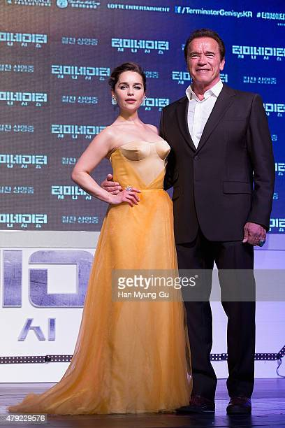 Actors Emilia Clarke and Arnold Schwarzenegger attend the Seoul premiere for Terminator Genisys on July 2 2015 in Seoul South Korea The film will...