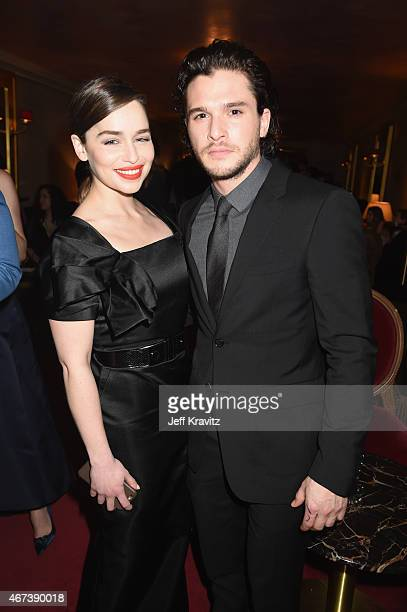 Actors Emilia Clarke and Kit Harington attend the after party for HBO's 'Game of Thrones' Season 5 at San Francisco City Hall on March 23 2015 in San...