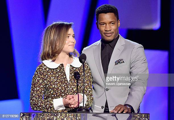 Actors Emilia Clarke and Nate Parker speak onstage during the 2016 Film Independent Spirit Awards on February 27 2016 in Santa Monica California
