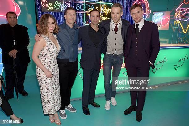 Actors Emilia Clarke Andy Samberg Fight coordinator Philip J Silvera actors Ryan Reynolds and Ed Skrein pose backstage at the 2016 MTV Movie Awards...