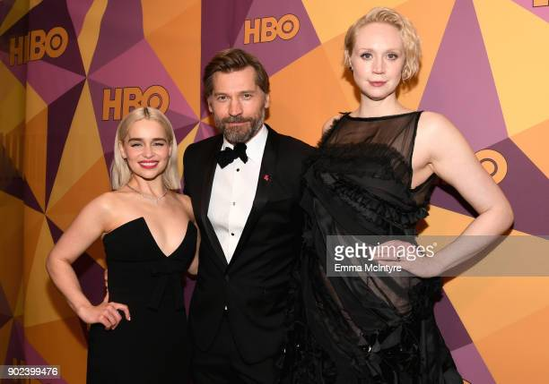 Actors Emilia Clarke Gwendoline Christie and Nikolaj CosterWaldau attend HBO's Official Golden Globe Awards After Party at Circa 55 Restaurant on...