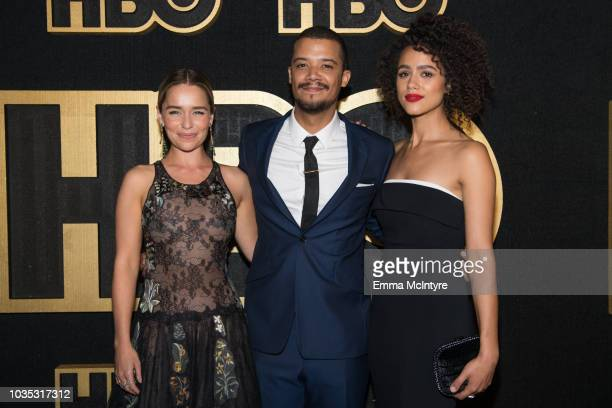 Actors Emilia Clarke Jacob Anderson and Nathalie Emmanuel arrive at HBO's Post Emmy Awards Reception at the Plaza at the Pacific Design Center on...
