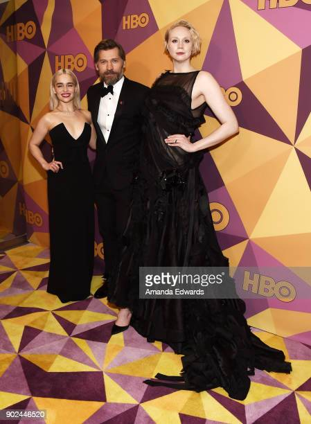 Actors Emilia Clarke Nikolaj CosterWaldau and Gwendoline Christie arrive at HBO's Official Golden Globe Awards After Party at Circa 55 Restaurant on...
