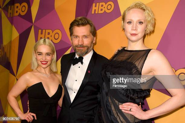 Actors Emilia Clarke Nikolaj CosterWaldau and Gwendoline Christie attend HBO's Official Golden Globe Awards After Party at Circa 55 Restaurant on...