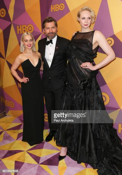 Actors Emilia Clarke Nikolaj CosterWaldau and Gwendoline Christie attend HBO's official Golden Globe Awards after party at The Circa 55 Restaurant on...
